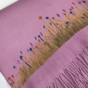 Cashmere feel scarf in Dusky Pink handprinted with Wildflowers