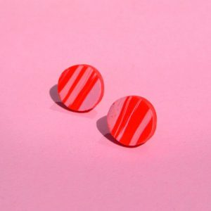Pink and Red Marble Stud Earrings, 80s 90s Style Bold Colourful Round Small Polymer Clay Studs - DSC 1486 500x500