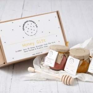 Scottish Honey Set of 3 x120g with Wooden Dipper