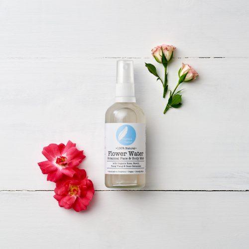Flower Water botanical face & body mist with organic Rose, Neroli, Geranium & Ylang Ylang. 100% natural, vegan, cruelty free, organic.