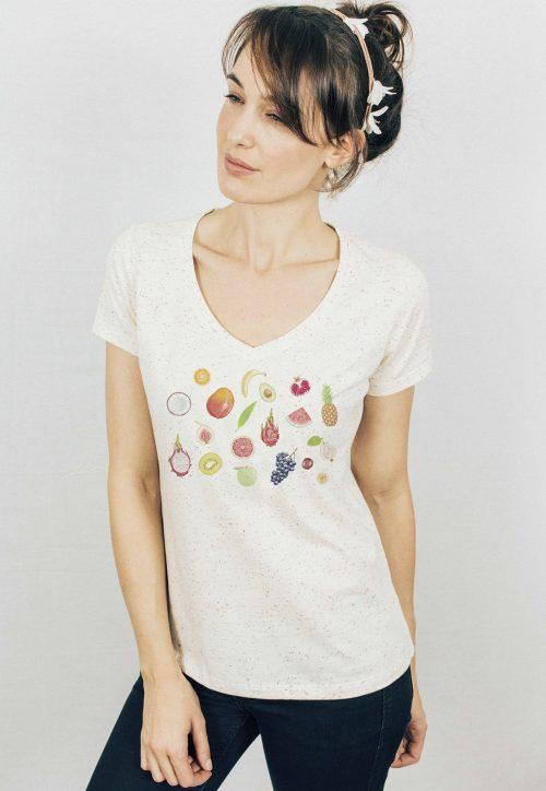 Fruits V-neck Speckled T-shirt - Fruits1 1160x 500x724