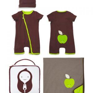 ZIP-UP APPLE ROMPER / BLANKET / HAT / BAG- 4 Piece Apple Romper Gift Set