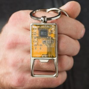 Recycled circuit board bottle opener keychain