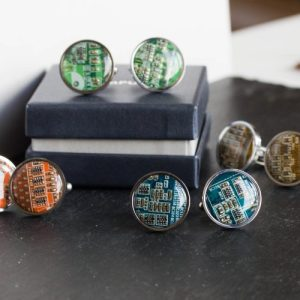 Circuit Board Cufflinks, stainless steel