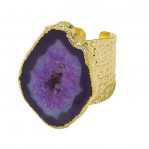 YAA YAA LONDON Deep Purple Mega Gemstone Gold Statement Ring
