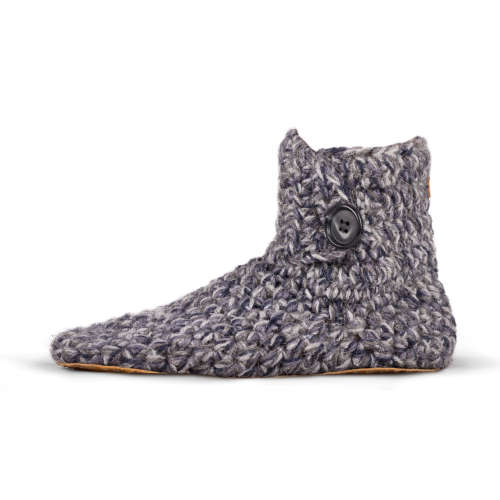 Men's Stone Grey Wool High Top Slippers_side_Kingdom of Wow!