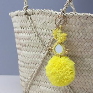 Pom Pom Mirror Keyrings, Assorted Colours (Pack of 10)