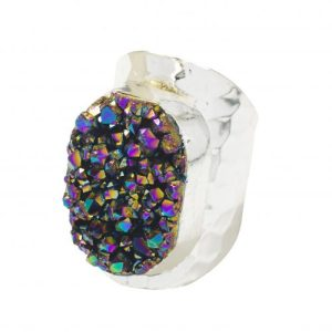 YAA YAA LONDON SILVER Rainbow Druzy Statement Ring - RAINBOW RING 500x500