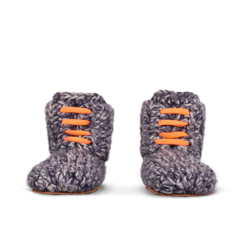 Storm Orange Wool Toddlers Slippers_front_Kingdom of Wow!