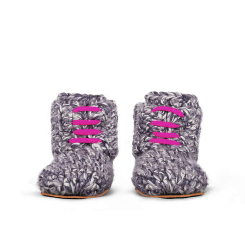 Storm Pink Wool Toddlers Slippers_front_Kingdom of Wow!