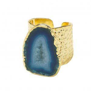 YAA YAA LONDON Ocean Blue Mega Gemstone Gold Statement Ring