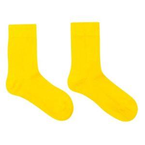 Bamboo Socks Yellow 8y-12y - WILSONSPARADISE sokken effen geel 500x500