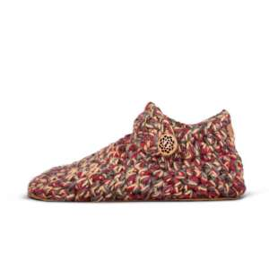 Indian Summer Red Wool Slippers_side_Kingdom of Wow!