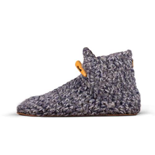 Women's Stone Grey Wool Slippers_side_Kingdom of Wow!
