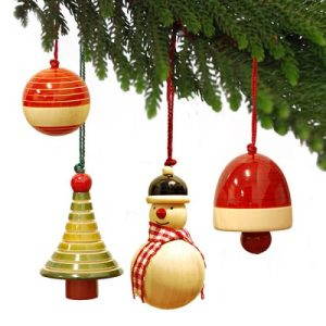 Ethiqana Wooden Yulets Collection – Tree Bauble Snowman Bell