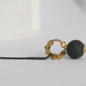 MINIMALIST CONCRETE AND BRASS NECKLACE - cb necklace