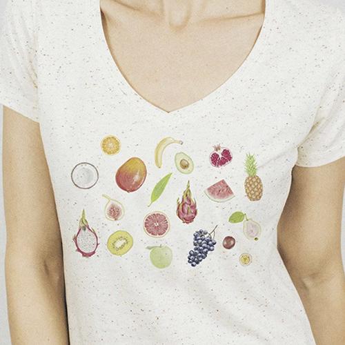 Fruits V-neck Speckled T-shirt - cl
