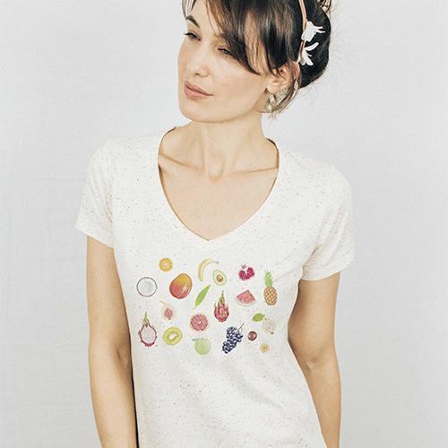 Fruits V-neck Speckled T-shirt - fr