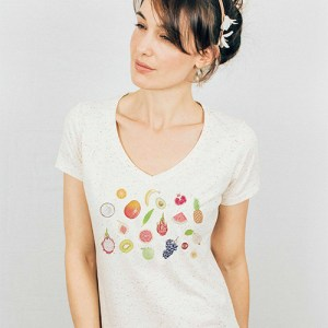 Fruits V-neck Speckled T-shirt - fr