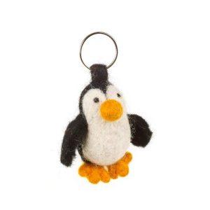 Handmade Fair trade Needle Felt Penguin Keyring - handmade fair trade needle felt penguin keyring 500x500