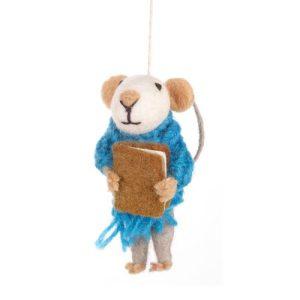 Handmade Felt Archie Mouse Hanging Decoration