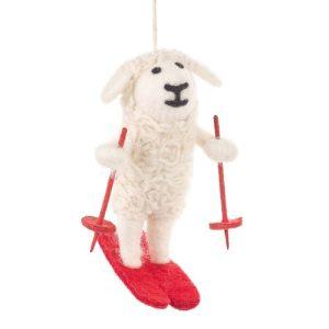 Handmade Felt Skiing Sheep Biodegradable Hanging Decoration
