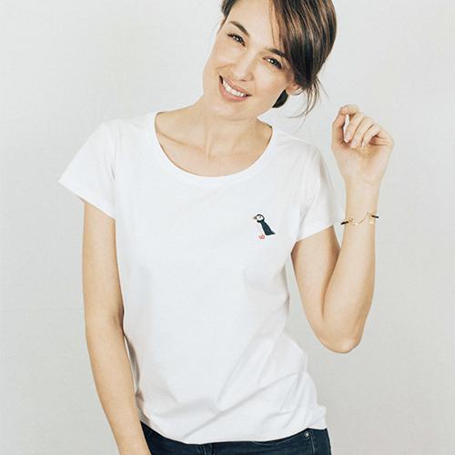 Puffin Basic T-shirt White - ljb