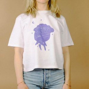 """""""Blue Lovers"""" Cropped Cotton T-shirt"""