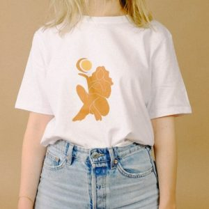 """Sun Moon Woman"" Cropped Cotton T-shirt"