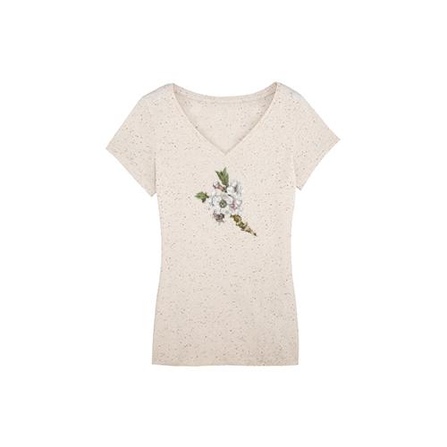 Blossom V-neck Speckled T-shirt - spckf