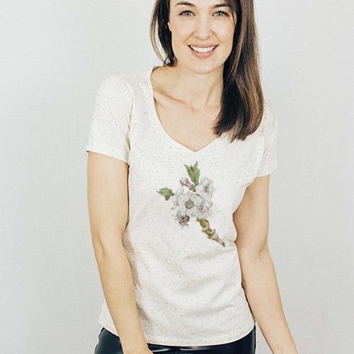 Blossom V-neck Speckled T-shirt - spvb