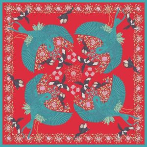 Blue Bird 90cm Silk Scarf red -  500x500