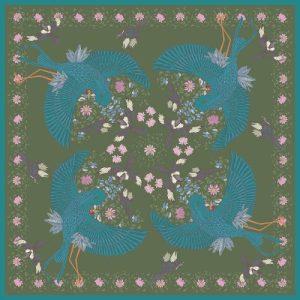 Blue Bird 90cm Silk Scarf green -  500x500