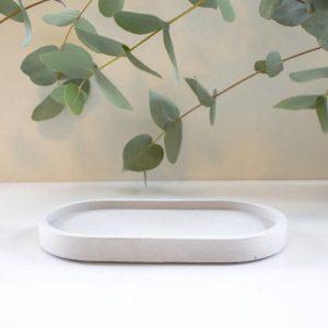 Concrete Junior Oval Tray – Solid Grey
