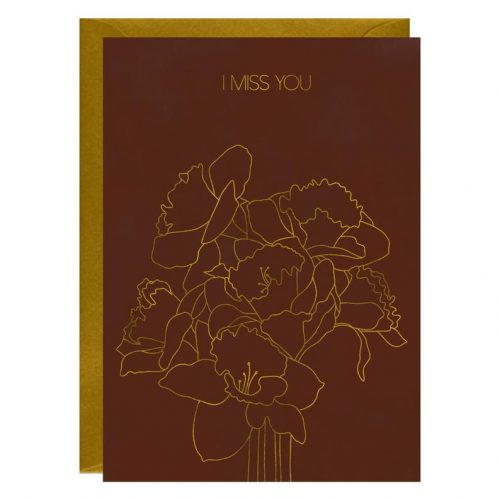 Tulip I Miss You Gold Foiled Greeting Card
