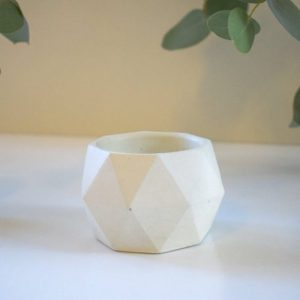 Concrete Geo Pot/Planter – Short – Solid White