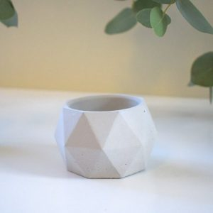 Concrete Geo Pot/Planter - Short - Solid Light Grey - 5 geo planter solid grey 500x500