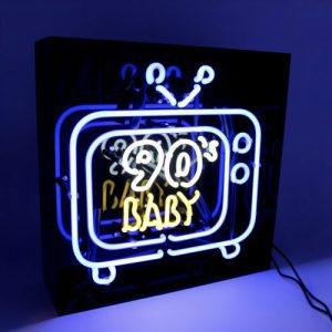 'TV' Baby Blue Acrylic Box Neon Light - 90s BABY BLUE web 500x500