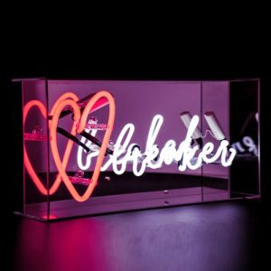 Red and White 'Heart Breaker' Acrylic Box Neon Light - Acrylic Box Neon Heart Breaker Side Angle On Web 500x500
