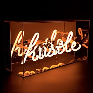 'Hustle' Acrylic Box Neon Light - Acrylic Box Neon Hustle Side Angle On Web 500x500