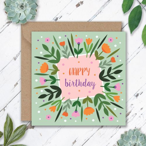Birthday Leaves and Flowers cards x6, Eli the Goat