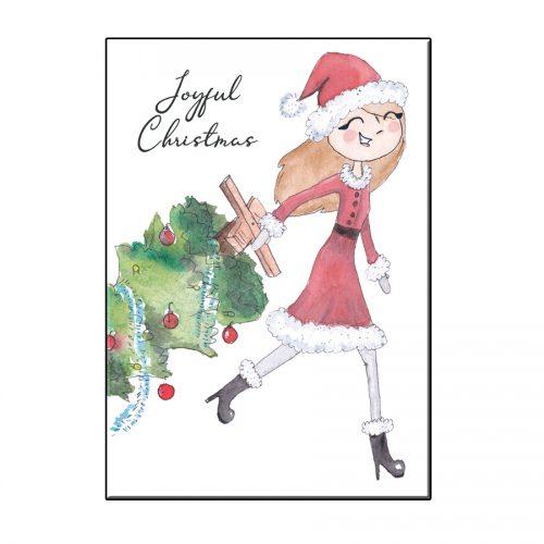 A6 SANTA GIRL WITH TREE CHRISTMAS GREETING CARD