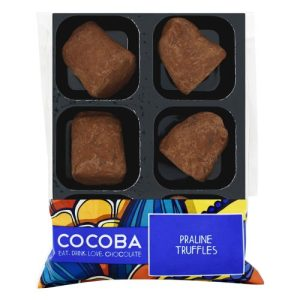 COCOA DUSTED PRALINE TRUFFLES, pack of 8 - Cocoa Dusted Praline Truffles Tray Wrapped 500x500