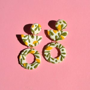 Lemon Abstract Shape Stud Dangles, Fruit Leaf Design Bold Colourful 60s - 70s Floral Style Geometric Statement Earrings, Polymer Clay - DSC 1388 500x500