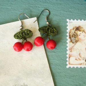 Needle Lace Cherry Earring - EARRINGS 100 7 CHERRY VERNA ARTISAN WORKS 500x500