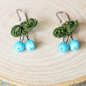 Needle Lace Earring - Blue Color - EARRINGS 111 1 500x500