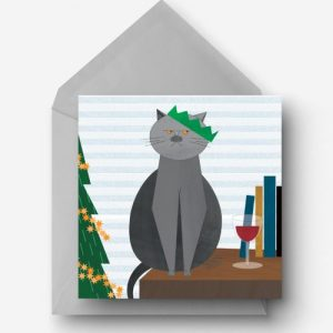 Christmas British Blue Charity Card - EllieGoodIllustration XmasBritBlue card 500x500