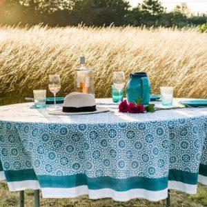 Vert de Mer Round Tablecloth