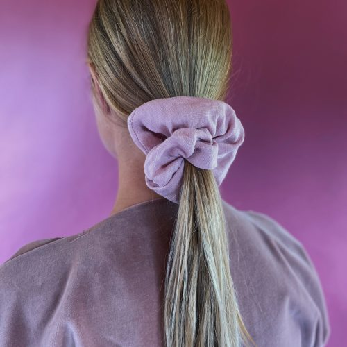 pink linen scrunchie