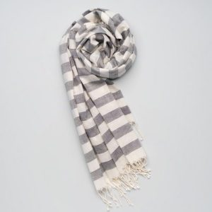 Soft handwoven cotton scarf grey-white stripes